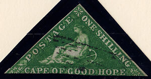 Cape of Good Hope: Scott #6a, Used, Wmk 15, white paper, 1 Sh, Dark Green 1858