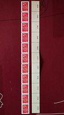 Bande de 11 timbres Marianne de Lamouche roulette avec numéros au dos