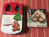 WILTON HOLIDAY HOUSE PAN Stampo Torta + MINI CAKE Tin Cookie Piastra Biscotti