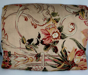 """Ralph Lauren """"Guinevere"""" KING Fitted Sheet Floral Scroll Burgandy Pink Green"""