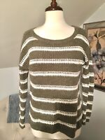 HOLLISTER Pullover Crewneck Green White Striped Womens Knit Sweater Size Medium