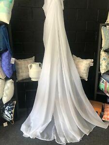 Kingston Curtain sheer Fabric -Voile - Leadweight Hem - 300 cm Drop-SNOW   $5 pm