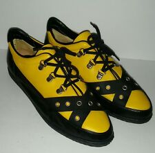 Capucine Italy Women's 38 7.5 Yellow Black Leather Creepers Shoes Punk New Wave