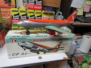 BOEING 737 JET PLANE CP AIR BATTERY OPERATED IN BOX 60s NEAR MINT WORKS JAPAN