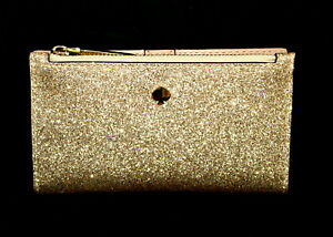 NWT $98 KATE SPADE Burgess Court Slim Bifold Wallet PWRU74 Gold Glitter Leather