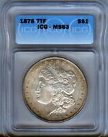 1878-P - 7tf Morgan Silver $1  ICG MS63 - NICE TONING- LOOKS BETTER -
