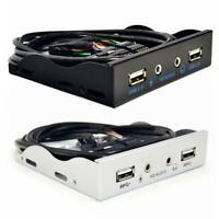 3.5 inch 9Pin to 2 USB 2.0 HUB Floppy Bay HD Audio 3.5mm Front Panel Rack R1BO