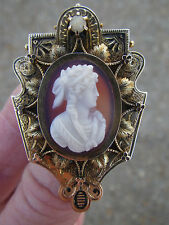 Victorian 14K Gold and Enamel Large Stone Cameo Pin w/Cannetile & Pearl