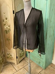 ANXIETY, NWT, SHEER LONG SLEEVE, CARDIGAN/TOP WITH FRONT TIE, LARGE