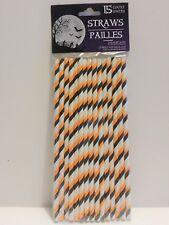 Halloween striped orange white black Paper Straws pack of 15