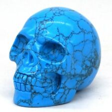 "2"" Human Skull Blue Turquoise Hand-Carved Stone Figurine Reiki Healing Crafts"