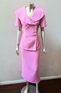 RETRO VTG 80S 90S LARGE COLLAR DOUBLE BREASTED JACKET PENCIL MIDI SKIRT SUIT 8