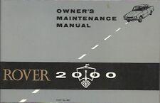 ROVER P6 2000SC 2000TC 2000 AUTO 1966 manutenzione manuale (incl servizio buoni)