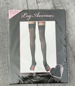Leg Avenue Stay Up Lace Top Sheer Thigh Highs Plus Size Style 9550Q Black