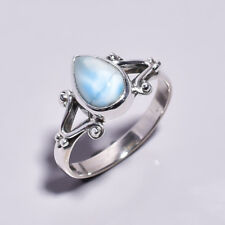 925 Sterling Silver Ring UK Size P, Natural Larimar Handcrafted Jewelry R4451