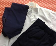 Boys formal shirt, trousers, waistcoat and tie, blue and cream, vgc