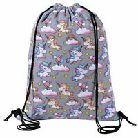 GREY MAGICAL UNICORN DRAWSTRING BAG Dance School Gym Swim PE Shoulder Backpack