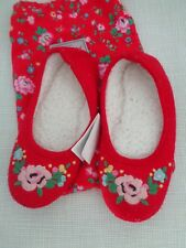 Cath Kidston Red Felt Floral Corsage Slippers with Bag size S
