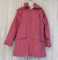 Vtg Woolrich Woman Womens Coat Hooded Lined Pink S Zip Jacket Drawstring Pockets