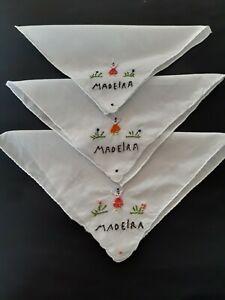3 x ladies fine white cotton hankies/handkerchiefs with hand embroidered MADEIRA