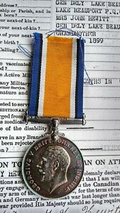 WW1 1914-20 British War Medal PTE George Henry Hewitt Canadian Infantry Wounded