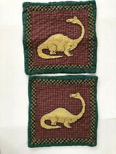 The Company Store 2 Dinosaur Decorative Pillow Shams Cases Patchwork Quilted