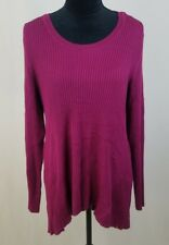Style&Co. women XL magenta ribbed pullover long sleeve hi-low sweater