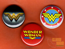 "Set of three 1"" Wonder Woman pins buttons"
