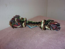 """Brand New """"Paws & Claws"""" Dog 7"""" Green, Brown & Black 2 Knotted Rope Toy. #10"""