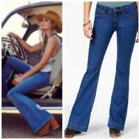 NWT FREE PEOPLE Dallas Stretch Mid-Rise Super Flare Jeans OB412721 Sz 26, 27, 29