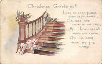 Christmas Greetings c1915 Postcard Packages at Base of Staircase