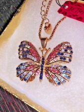 Betsey Johnson Necklace BuTTERFLY Pink Blue Black Crystals Gold Enamel Gift Box