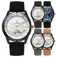 Fashion Men's Stainless Steel Big Dial Watch PU Leather Strap Quartz Wrist Watch