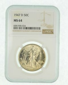 1947-D MS64 - Walking Liberty Half Dollar - Graded By NGC - Choice Unc *318