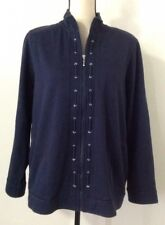 Women's Alfred Dunner Blue Jacket Sz 14 Full Zip Thick Casual Fashion Navy