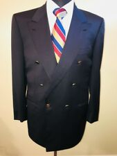 Stunning Brioni Roma Navy Double Breasted Peak Lapel Suit Jacket 40L Italy