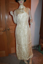 "Vintage women 1960 glitter long dress 27"" waist comes with scarf euc off white"