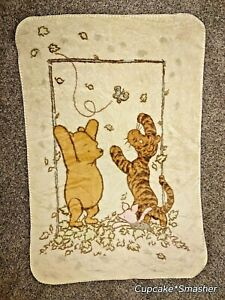 Classic Winnie The Pooh Bear Tigger Piglet Playing In Leaves  Baby Blanket