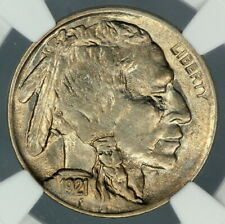 NGC MS63 1921 BUFFALO NICKEL 5c   OVER POLISHED 3RD FEATHER     (BC06)