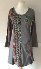 Gringo Fair Trade S/M UK 12 Small Festival Psy Tunic Dress Grey Aztec Geometric