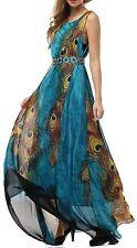 Women's Peacock Printed Bohemian Summer Maxi Sun Dress; Comfy Plus Size US 20
