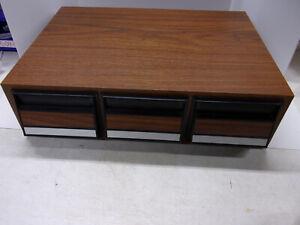 Vintage 42 Capacity Wood Grain Audio Cassette Tape Storage 3 Drawer Holder Case