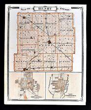 1876 Indiana Map Henry County New Castle Knightstown & Richmond City Plan Wayne
