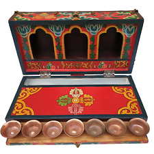 More details for nepalese luxury travelling altar box - hand painted - 7 copper bowls