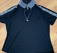 NWOT Greg Norman Women's Large ML75 Victory Zip polo Shirt G2F9K205 NEW golf