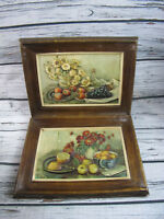2 Vintage 1961 Donald Art Co. Fruit Platter on Hard Plastic Framed Mid Century