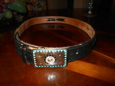 "MAN'S FINE COWBOY TOP GRAIN LEATHER BELT, 44.75"" LONG, PRE-OWNED"
