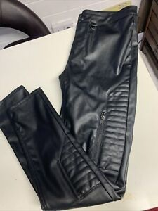 Divided Faux Leather Black Biker Stule Trousers Size 14 Zips Immaculate