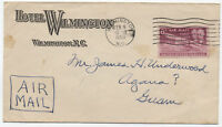 1950 6ct Wright Brothers airmail cover from wilmington NC to Guam [y1744]