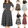 Fashion Womens Vintage Patchwork Pockets Puffy Swing Print Casual Party Dress CZ